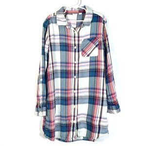 GAP Sz 8 Girls LS Plaid Shirt Dress Size M